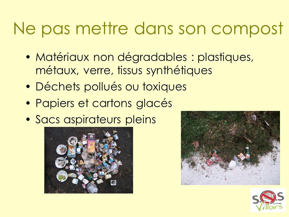 Ne pas mettre dans son compost Matériaux non dégradables : plastiques, métaux, verre, tissus synthétiques Déchets pollués ou toxiques Papiers et cartons glacés Sacs aspirateurs pleins