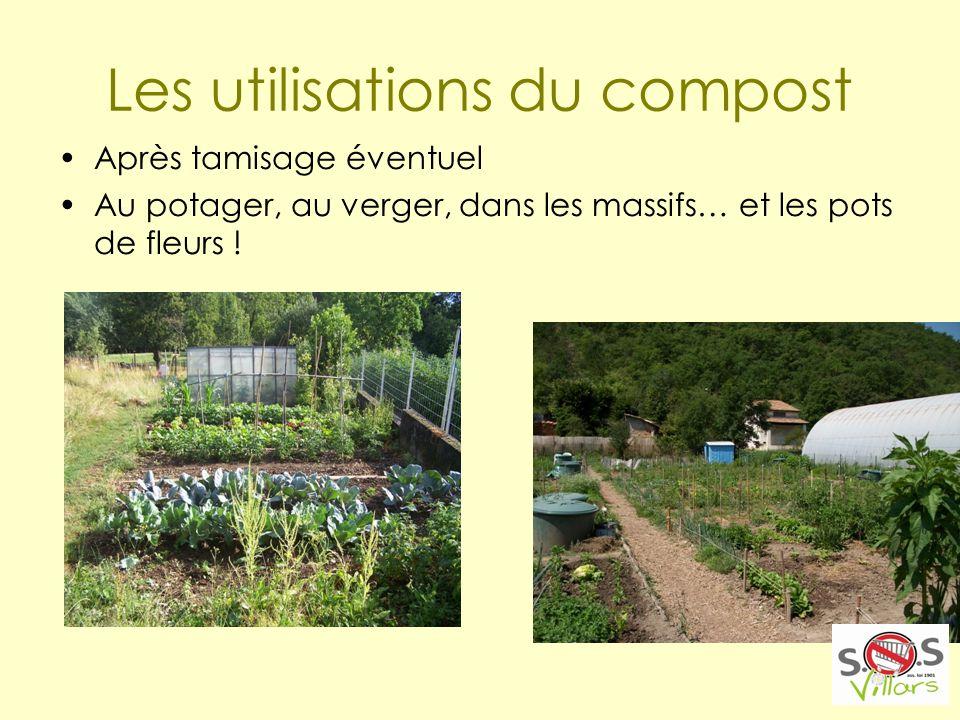 Les utilisations du compost Après tamisage éventuel Au potager, au verger, dans les massifs… et les pots de fleurs !
