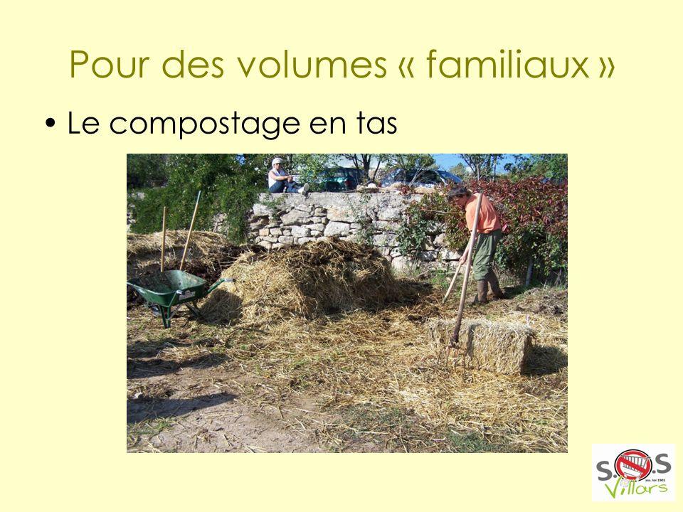 Pour des volumes « familiaux » Le compostage en tas