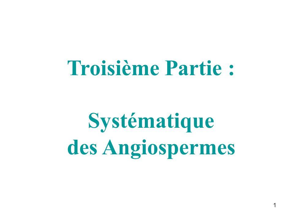 1 Troisième Partie : Systématique des Angiospermes