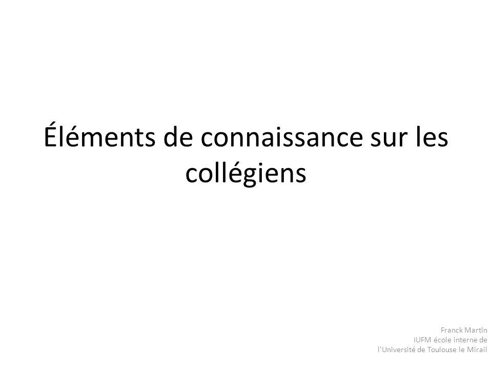 Éléments de connaissance sur les collégiens Franck Martin IUFM école interne de l'Université de Toulouse le Mirail