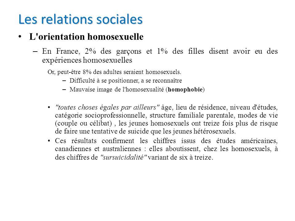 L'orientation homosexuelle – En France, 2% des garçons et 1% des filles disent avoir eu des expériences homosexuelles Or, peut-être 8% des adultes ser