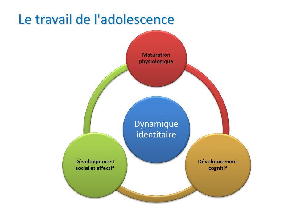 Le travail de l'adolescence Dynamique identitaire Maturation physiologique Développement cognitif Développement social et affectif