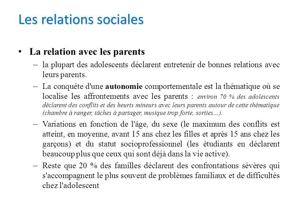 La relation avec les parents – la plupart des adolescents déclarent entretenir de bonnes relations avec leurs parents. – La conquête d'une autonomie c