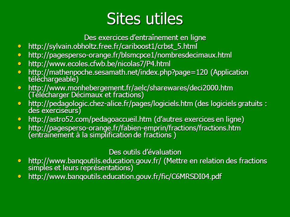 Sites utiles Des exercices dentraînement en ligne http://sylvain.obholtz.free.fr/cariboost1/crbst_5.html http://sylvain.obholtz.free.fr/cariboost1/crb