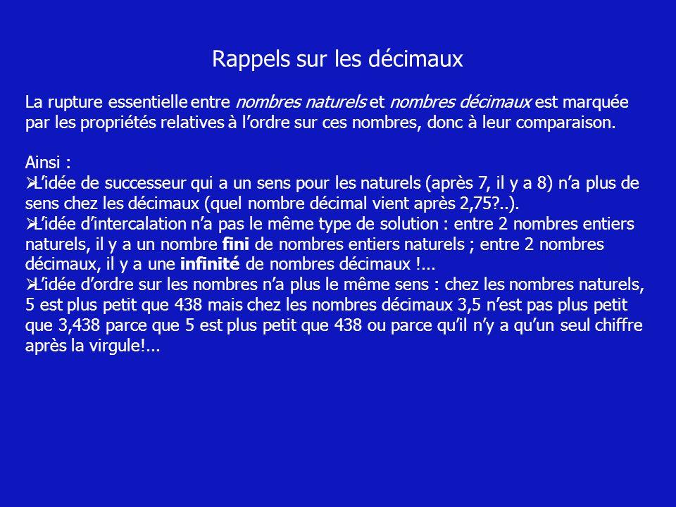 Rappels sur les décimaux La rupture essentielle entre nombres naturels et nombres décimaux est marquée par les propriétés relatives à lordre sur ces n