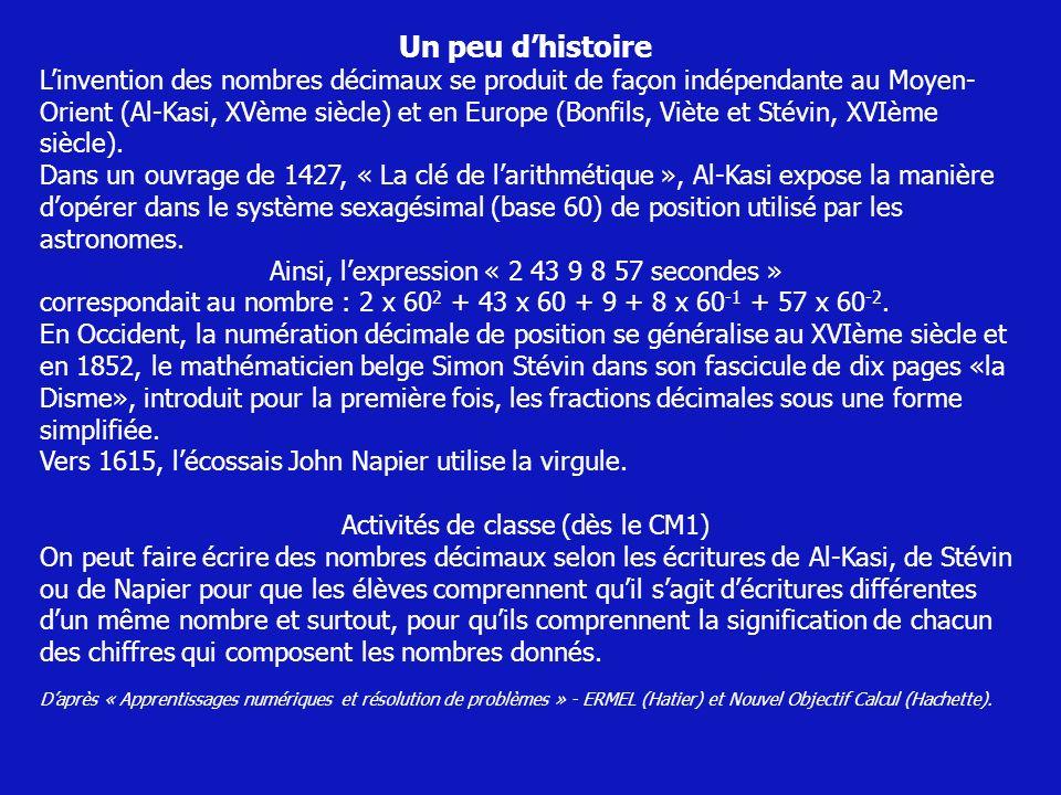 Un peu dhistoire Linvention des nombres décimaux se produit de façon indépendante au Moyen- Orient (Al-Kasi, XVème siècle) et en Europe (Bonfils, Vièt
