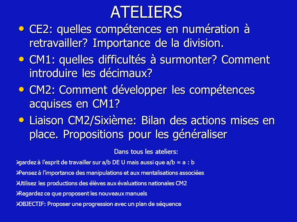 ATELIERS CE2: quelles compétences en numération à retravailler? Importance de la division. CE2: quelles compétences en numération à retravailler? Impo