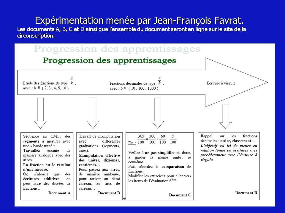 Expérimentation menée par Jean-François Favrat. Les documents A, B, C et D ainsi que lensemble du document seront en ligne sur le site de la circonscr