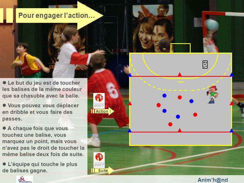 Animh@nd Le but du jeu est de toucher les balises de la même couleur que sa chasuble avec la balle. Vous pouvez vous déplacer en dribble et vous faire