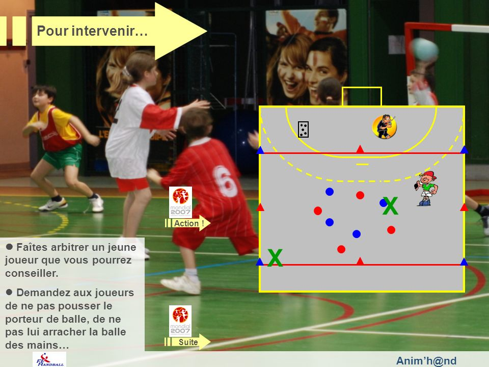 Animh@nd Faîtes arbitrer un jeune joueur que vous pourrez conseiller. Demandez aux joueurs de ne pas pousser le porteur de balle, de ne pas lui arrach