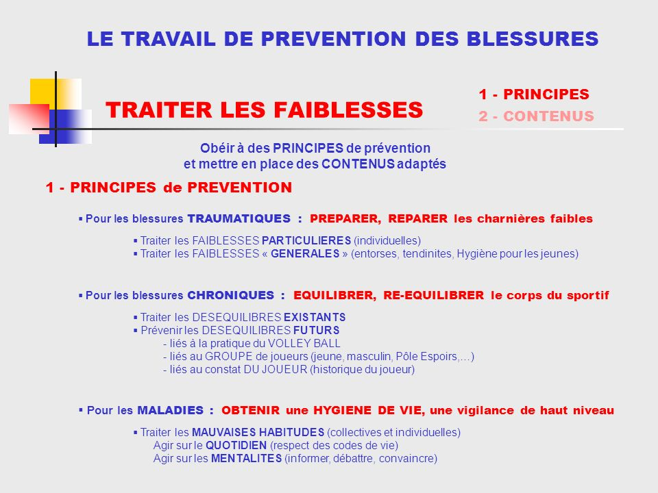 RECONNAÎTRE LES FAIBLESSESTRAITER LES FAIBLESSES LE TRAVAIL DE PREVENTION DES BLESSURES Pour les blessures TRAUMATIQUES : PREPARER, REPARER les charni