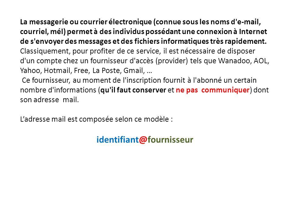 La messagerie ou courrier électronique (connue sous les noms d'e-mail, courriel, mél) permet à des individus possédant une connexion à Internet de s'e
