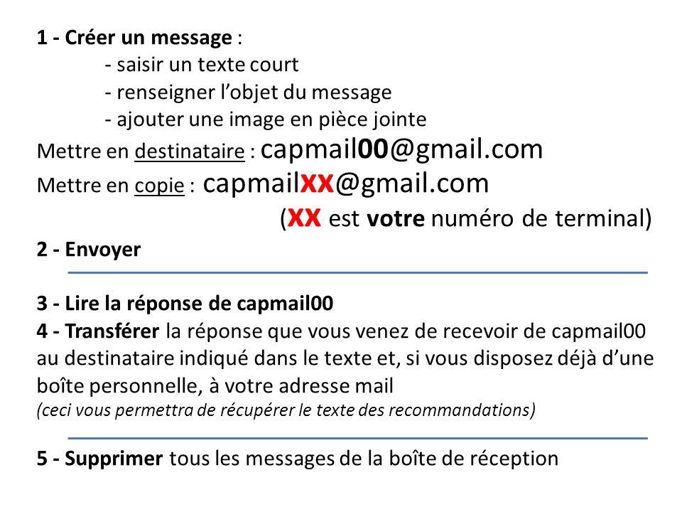 1 - Créer un message : - saisir un texte court - renseigner lobjet du message - ajouter une image en pièce jointe Mettre en destinataire : capmail00@g