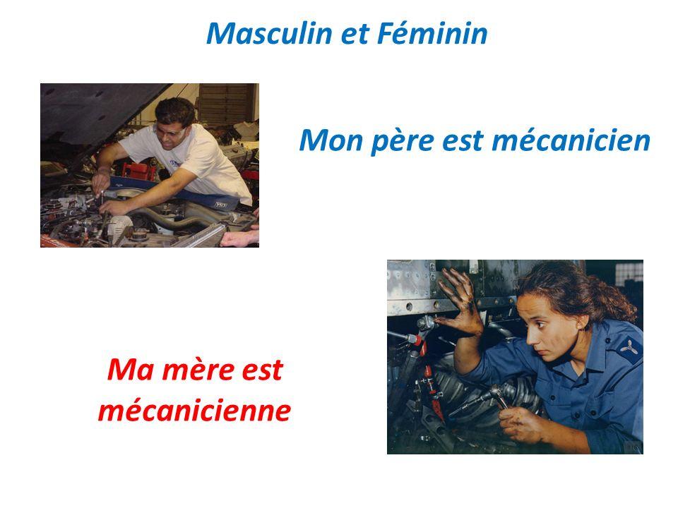 Masculin et Féminin Mon père est mécanicien Ma mère est mécanicienne
