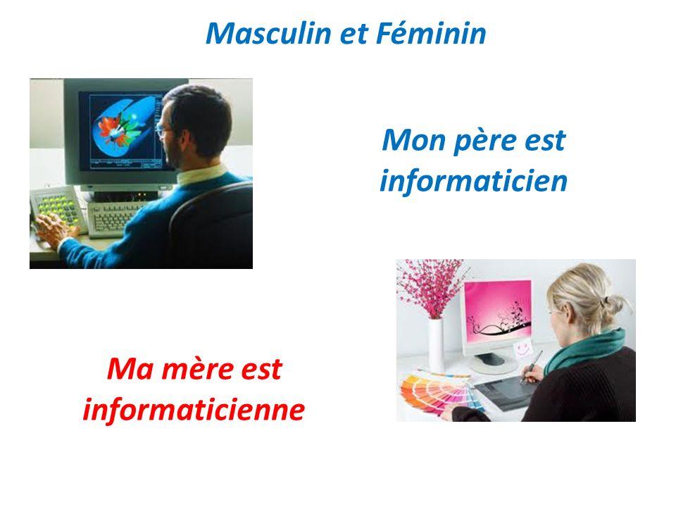 Masculin et Féminin Mon père est informaticien Ma mère est informaticienne