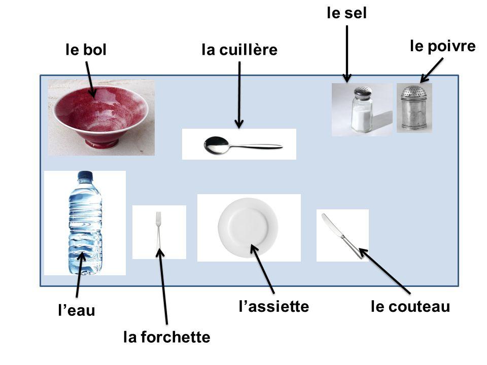 le couteaulassiette la forchette leau le bolla cuillère le sel le poivre