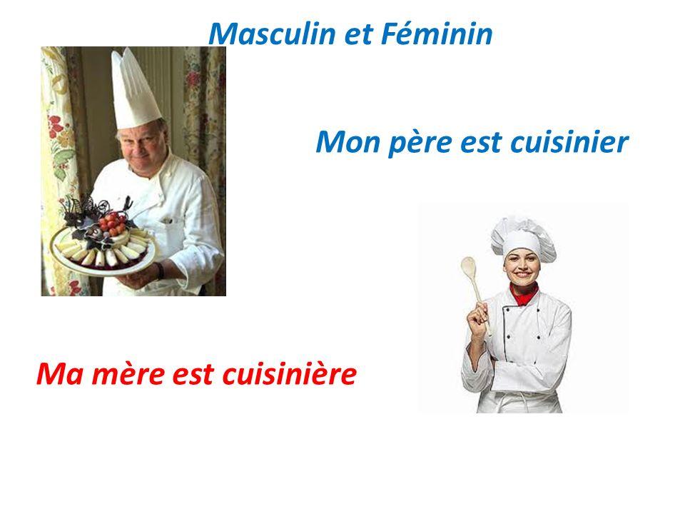 Masculin et Féminin Mon père est cuisinier Ma mère est cuisinière