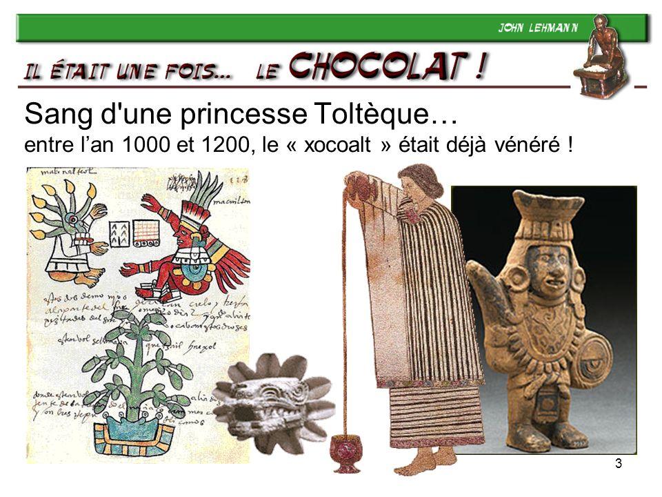 3 Sang d une princesse Toltèque… entre lan 1000 et 1200, le « xocoalt » était déjà vénéré !