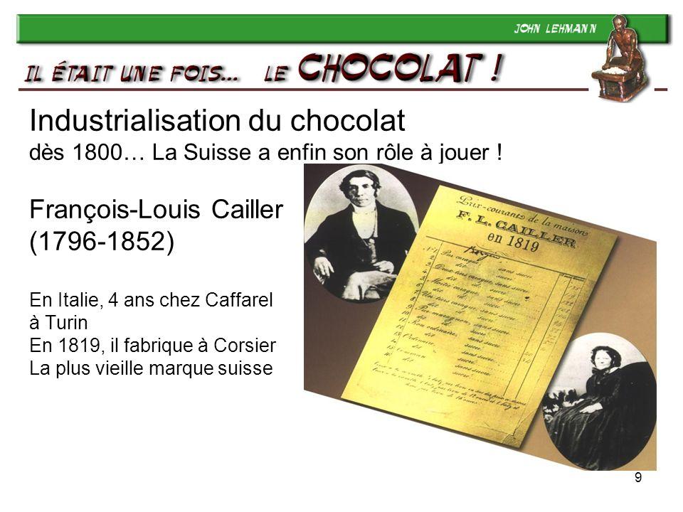 9 Industrialisation du chocolat dès 1800… La Suisse a enfin son rôle à jouer ! François-Louis Cailler (1796-1852) En Italie, 4 ans chez Caffarel à Tur