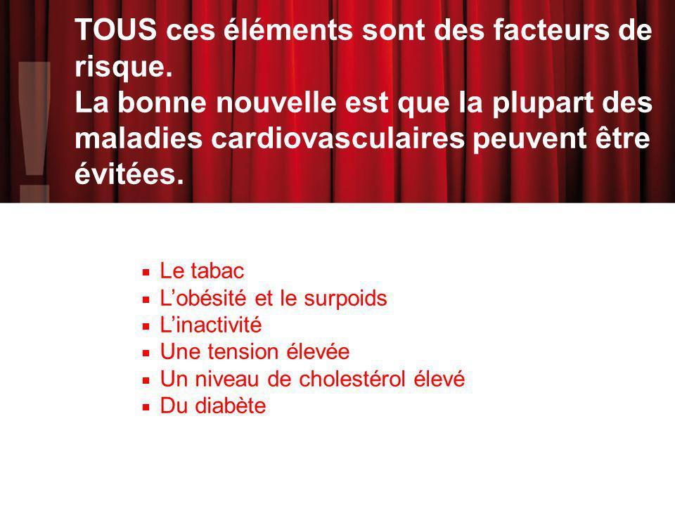 TOUS ces éléments sont des facteurs de risque. La bonne nouvelle est que la plupart des maladies cardiovasculaires peuvent être évitées. Le tabac Lobé
