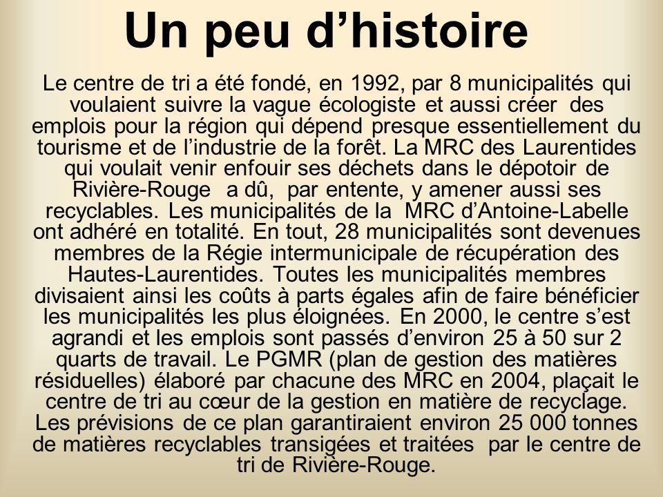 Un peu dhistoire Le centre de tri a été fondé, en 1992, par 8 municipalités qui voulaient suivre la vague écologiste et aussi créer des emplois pour la région qui dépend presque essentiellement du tourisme et de lindustrie de la forêt.