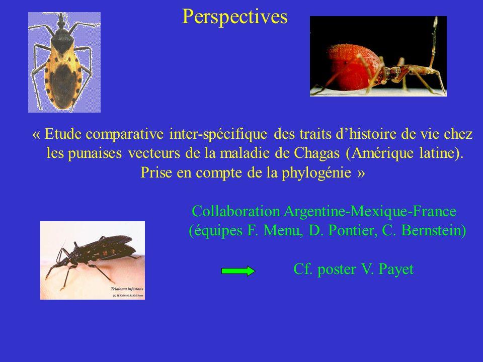 Perspectives « Etude comparative inter-spécifique des traits dhistoire de vie chez les punaises vecteurs de la maladie de Chagas (Amérique latine).