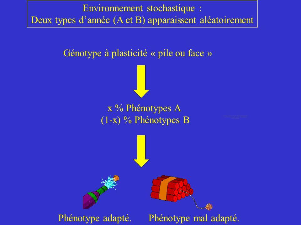 Génotype à plasticité « pile ou face » x % Phénotypes A (1-x) % Phénotypes B Phénotype adapté.Phénotype mal adapté.