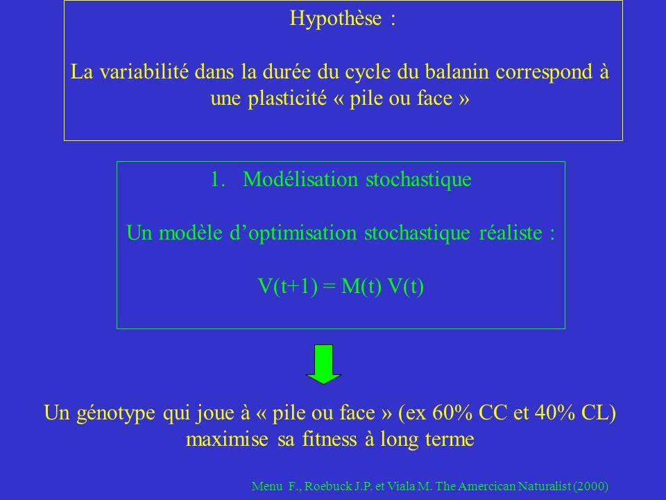 1.Modélisation stochastique Un modèle doptimisation stochastique réaliste : V(t+1) = M(t) V(t) Hypothèse : La variabilité dans la durée du cycle du balanin correspond à une plasticité « pile ou face » Un génotype qui joue à « pile ou face » (ex 60% CC et 40% CL) maximise sa fitness à long terme Menu F., Roebuck J.P.