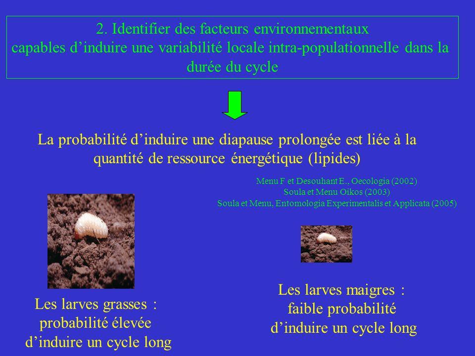 2. Identifier des facteurs environnementaux capables dinduire une variabilité locale intra-populationnelle dans la durée du cycle Les larves grasses :