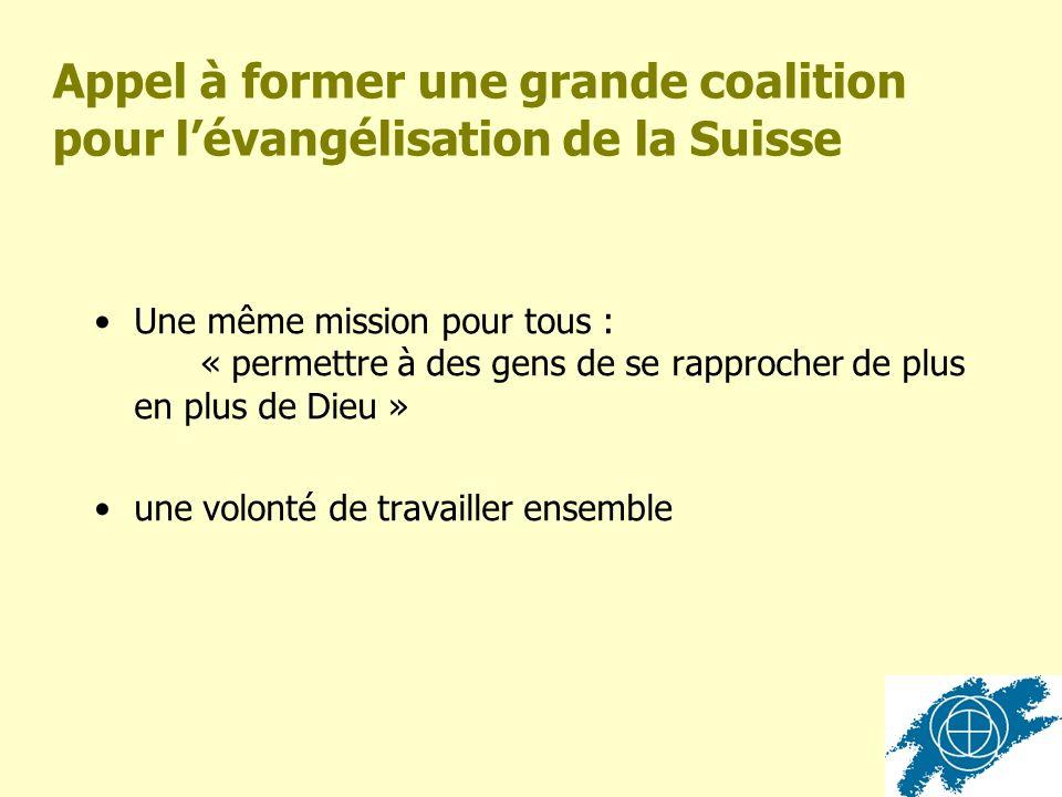 Appel à former une grande coalition pour lévangélisation de la Suisse Une même mission pour tous : « permettre à des gens de se rapprocher de plus en plus de Dieu » une volonté de travailler ensemble