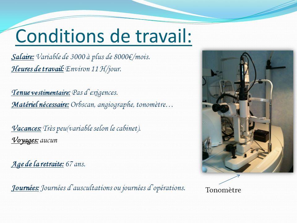 Avis personnel de M Desauziers: Pénibilité: -Beaucoup dheures de travail -Patients qui se succèdent rapidement.