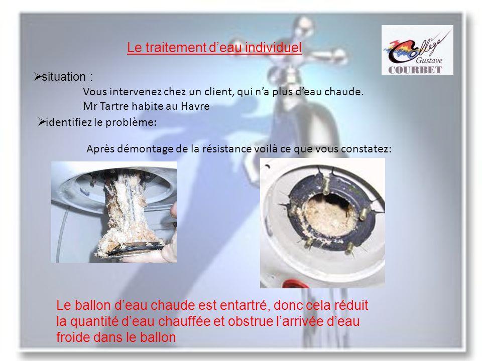 Le traitement deau individuel situation : Vous intervenez chez un client, qui na plus deau chaude. Mr Tartre habite au Havre identifiez le problème: A