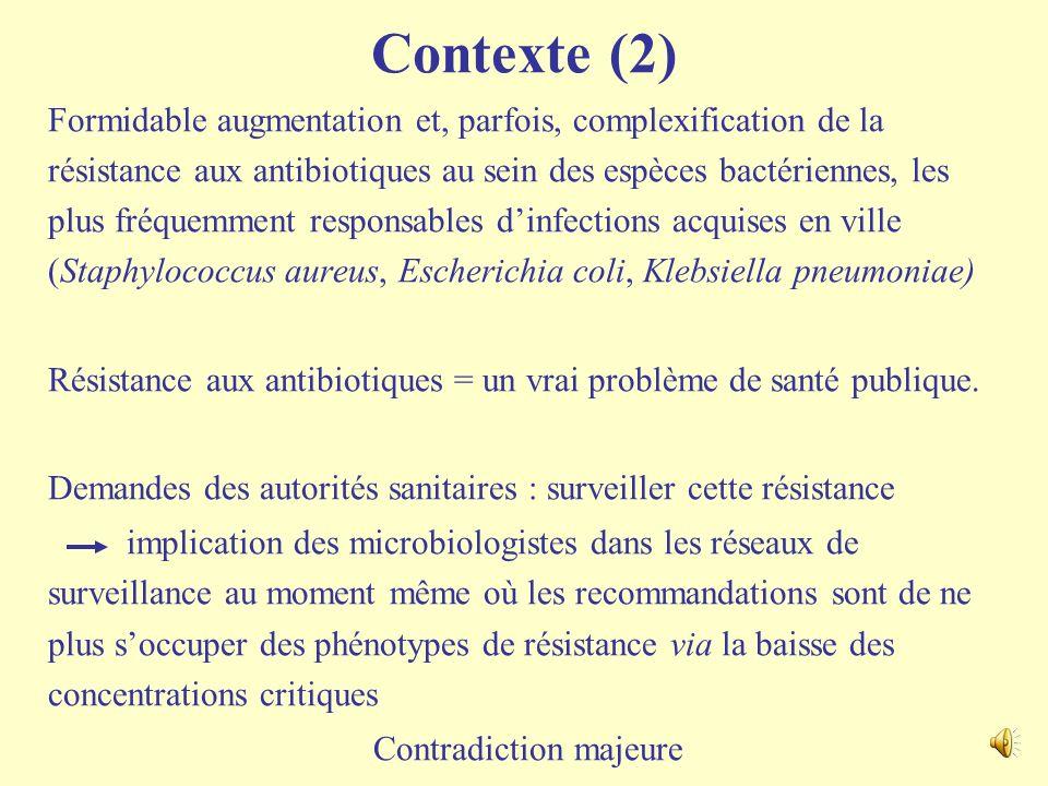 Contexte (1) Pour les souches dentérobactéries avec mécanismes de résistance aux C3G, CMI des C3G supposées être > 1 mg/l - Plus aucune nécessité de f