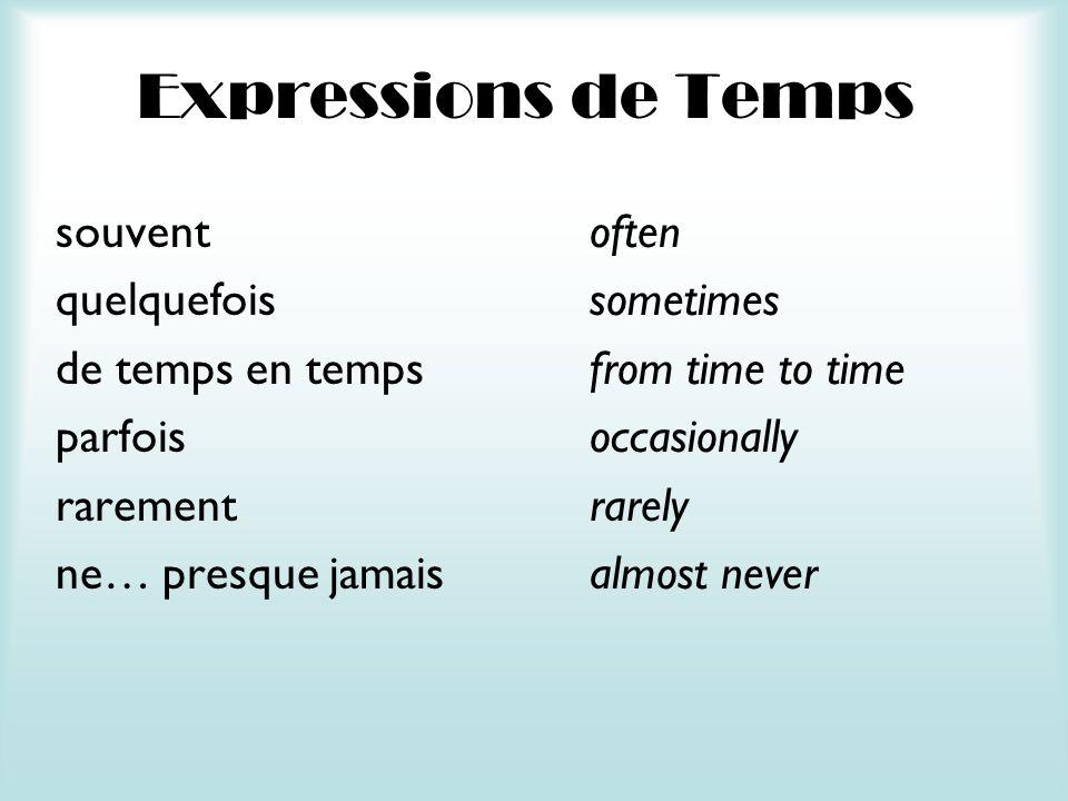 Expressions de Temps souventoften quelquefoissometimes de temps en tempsfrom time to time parfoisoccasionally rarementrarely ne… presque jamaisalmost never
