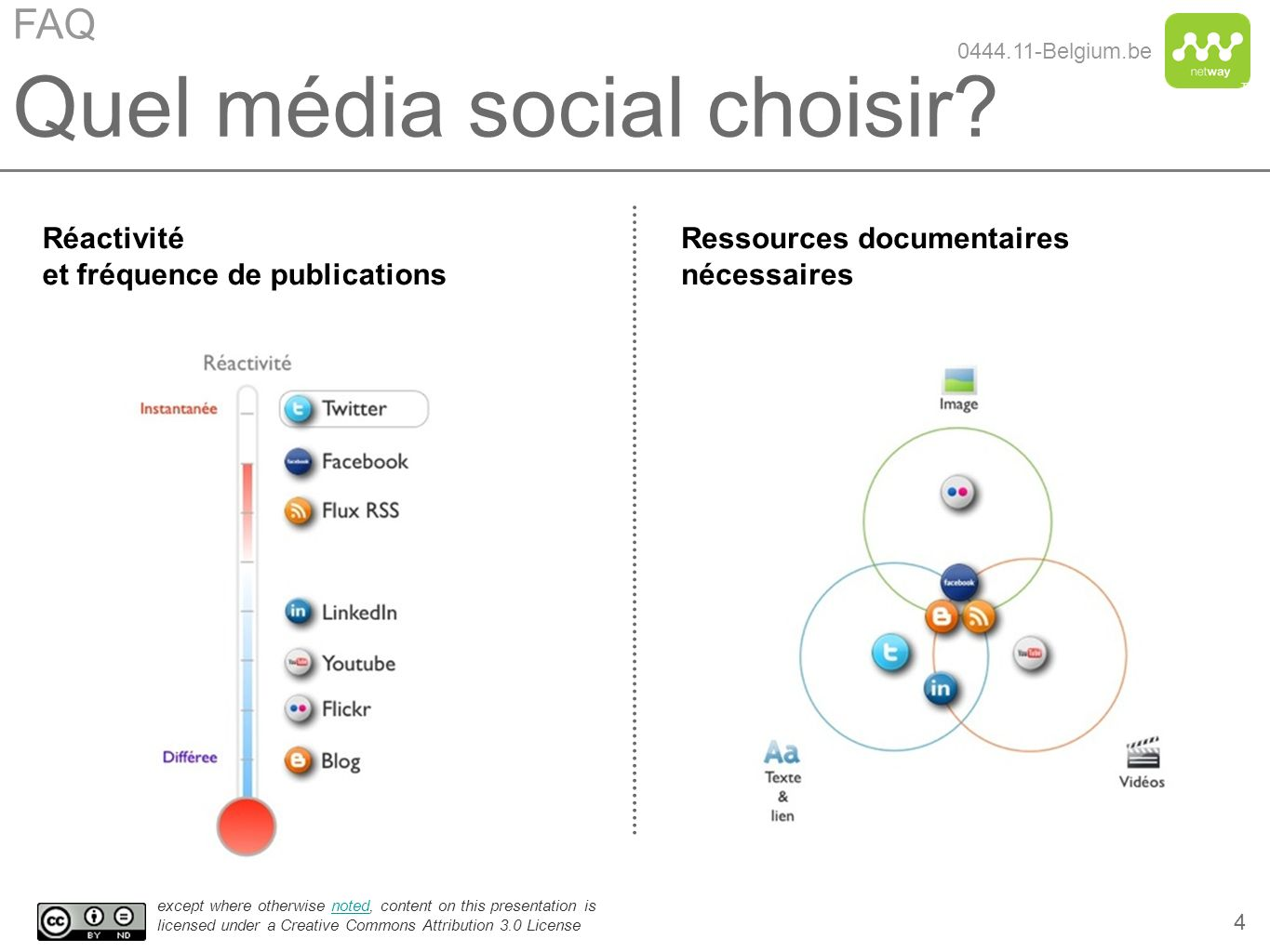 TM except where otherwise noted, content on this presentation is licensed under a Creative Commons Attribution 3.0 Licensenoted 25 Quel média social choisir.