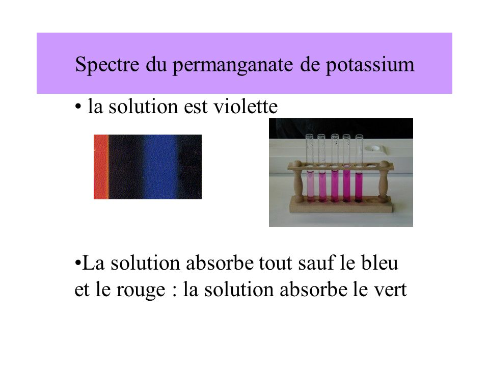 Spectre du permanganate de potassium la solution est violette La solution absorbe tout sauf le bleu et le rouge : la solution absorbe le vert