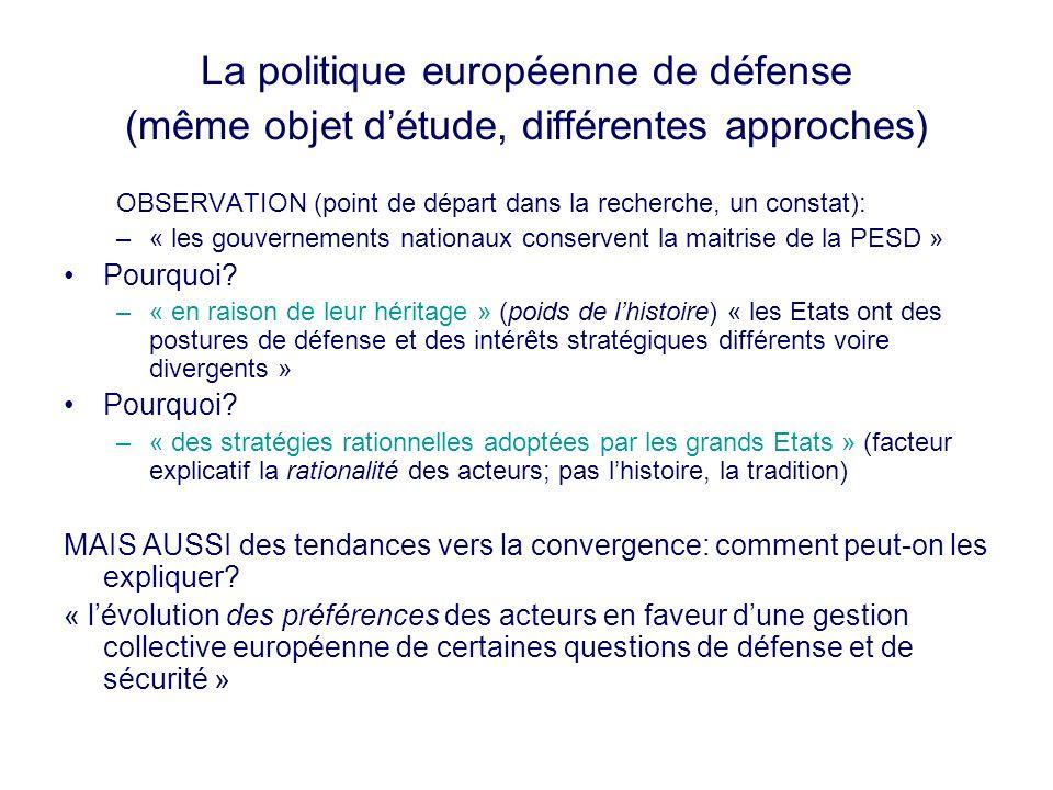 La politique européenne de défense (même objet détude, différentes approches) OBSERVATION (point de départ dans la recherche, un constat): –« les gouv