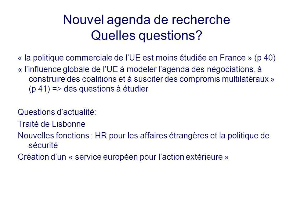 Nouvel agenda de recherche Quelles questions? « la politique commerciale de lUE est moins étudiée en France » (p 40) « linfluence globale de lUE à mod