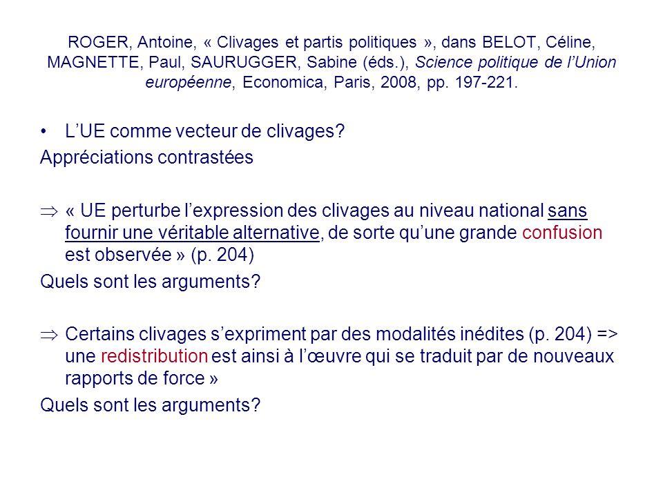 ROGER, Antoine, « Clivages et partis politiques », dans BELOT, Céline, MAGNETTE, Paul, SAURUGGER, Sabine (éds.), Science politique de lUnion européenn