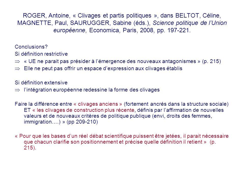 ROGER, Antoine, « Clivages et partis politiques », dans BELTOT, Céline, MAGNETTE, Paul, SAURUGGER, Sabine (éds.), Science politique de lUnion européen