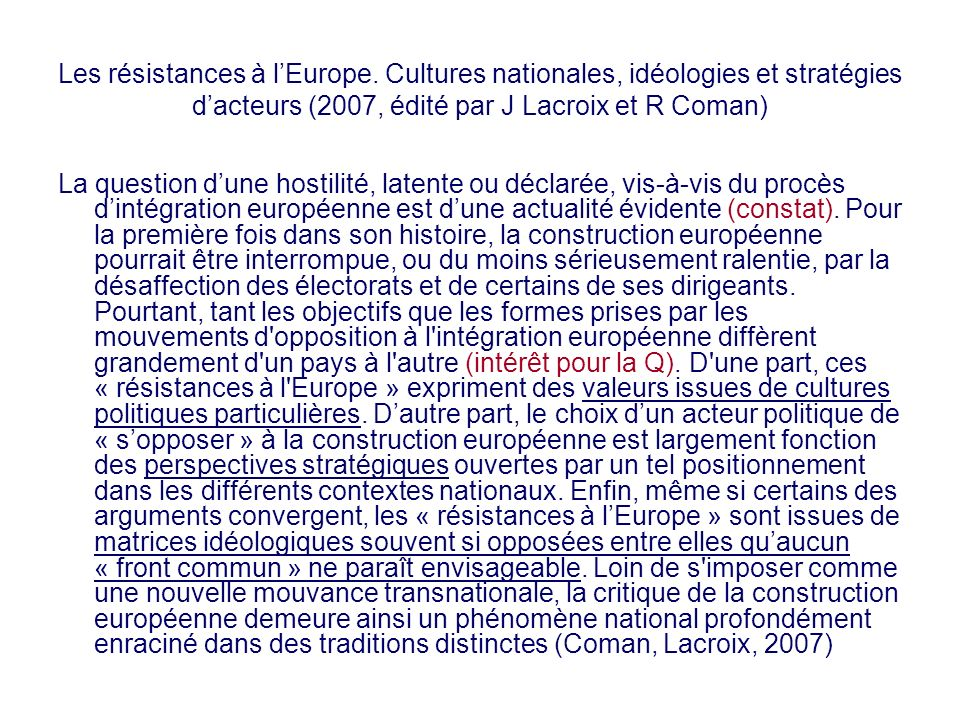 Les résistances à lEurope. Cultures nationales, idéologies et stratégies dacteurs (2007, édité par J Lacroix et R Coman) La question dune hostilité, l