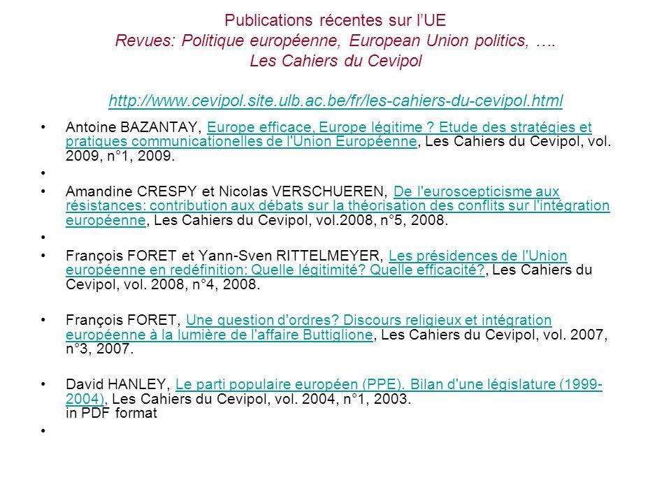 Publications récentes sur lUE Revues: Politique européenne, European Union politics, …. Les Cahiers du Cevipol http://www.cevipol.site.ulb.ac.be/fr/le