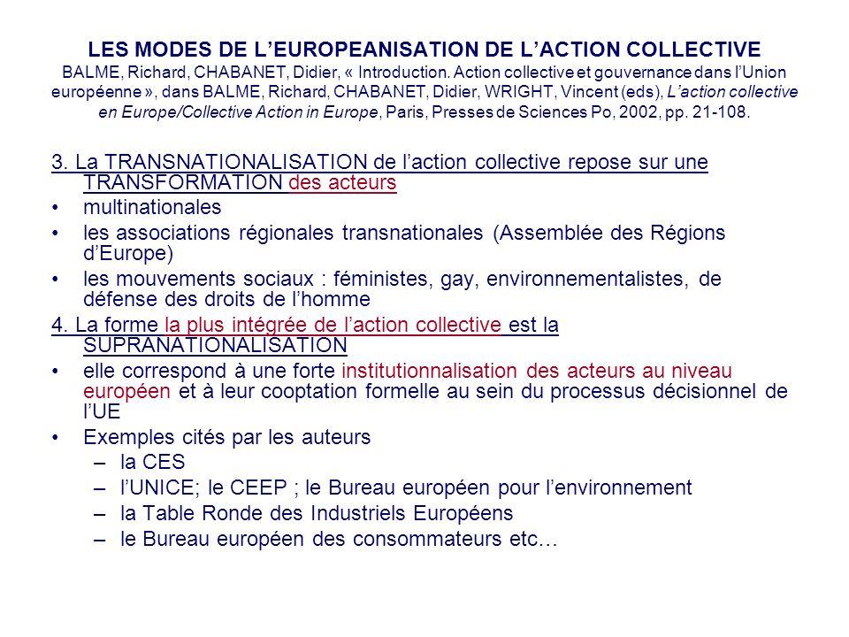 LES MODES DE LEUROPEANISATION DE LACTION COLLECTIVE BALME, Richard, CHABANET, Didier, « Introduction. Action collective et gouvernance dans lUnion eur