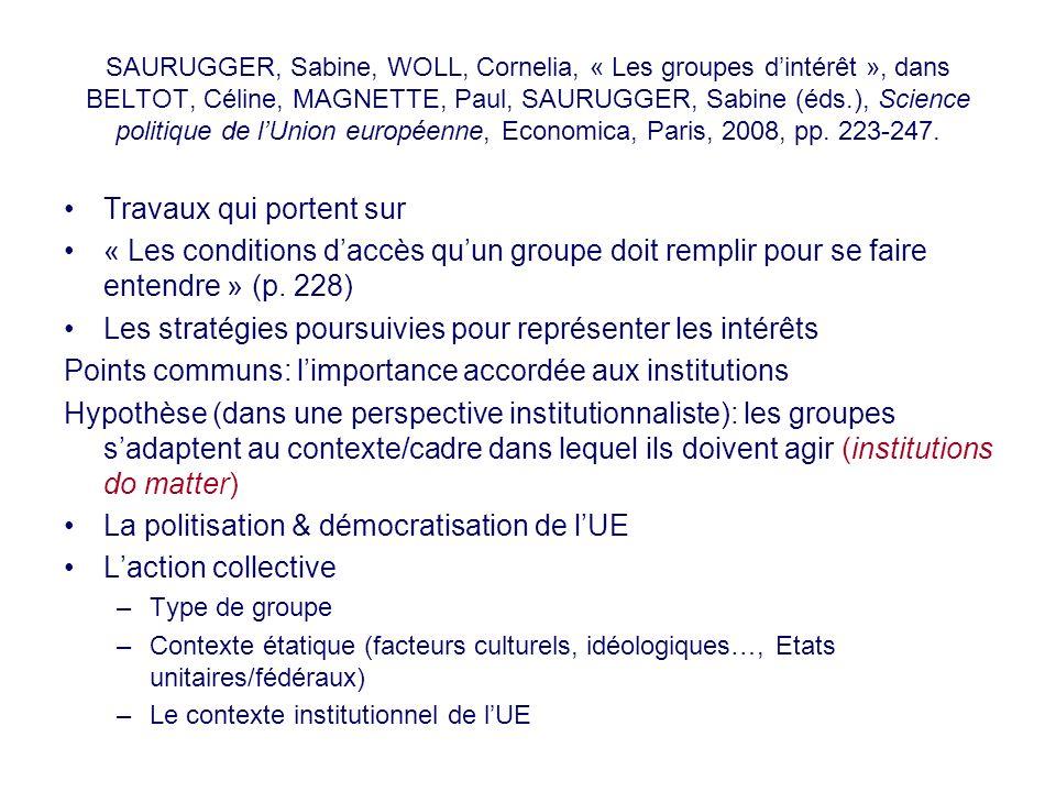 SAURUGGER, Sabine, WOLL, Cornelia, « Les groupes dintérêt », dans BELTOT, Céline, MAGNETTE, Paul, SAURUGGER, Sabine (éds.), Science politique de lUnio