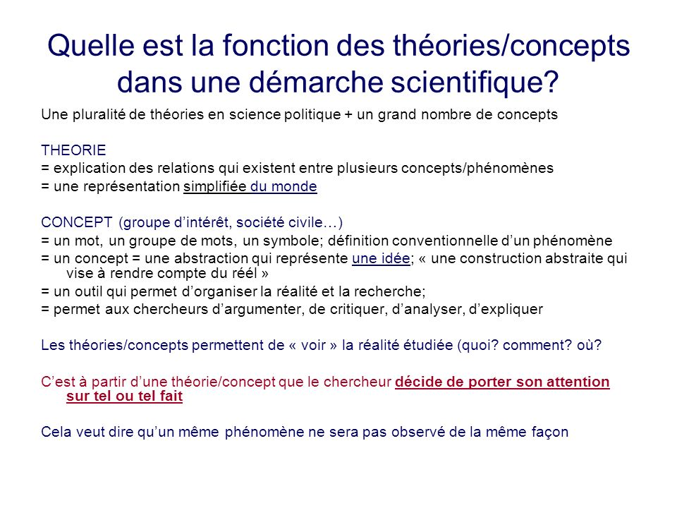 Quelle est la fonction des théories/concepts dans une démarche scientifique? Une pluralité de théories en science politique + un grand nombre de conce