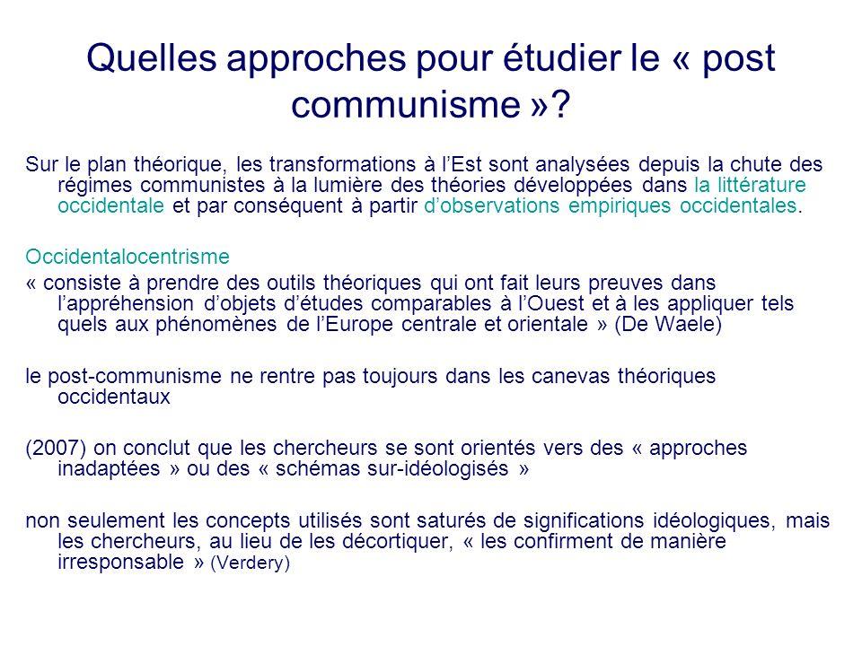 Quelles approches pour étudier le « post communisme »? Sur le plan théorique, les transformations à lEst sont analysées depuis la chute des régimes co