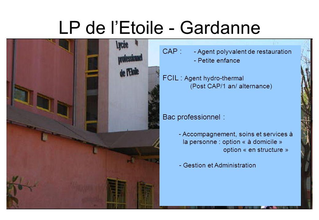 LP de lEtoile - Gardanne CAP : - Agent polyvalent de restauration - Petite enfance FCIL : Agent hydro-thermal (Post CAP/1 an/ alternance) Bac professi