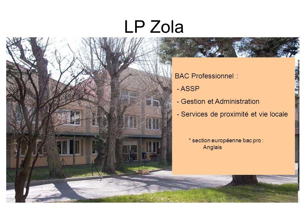 LP Zola BAC Professionnel : - ASSP - Gestion et Administration - Services de proximité et vie locale * section européenne bac pro : Anglais