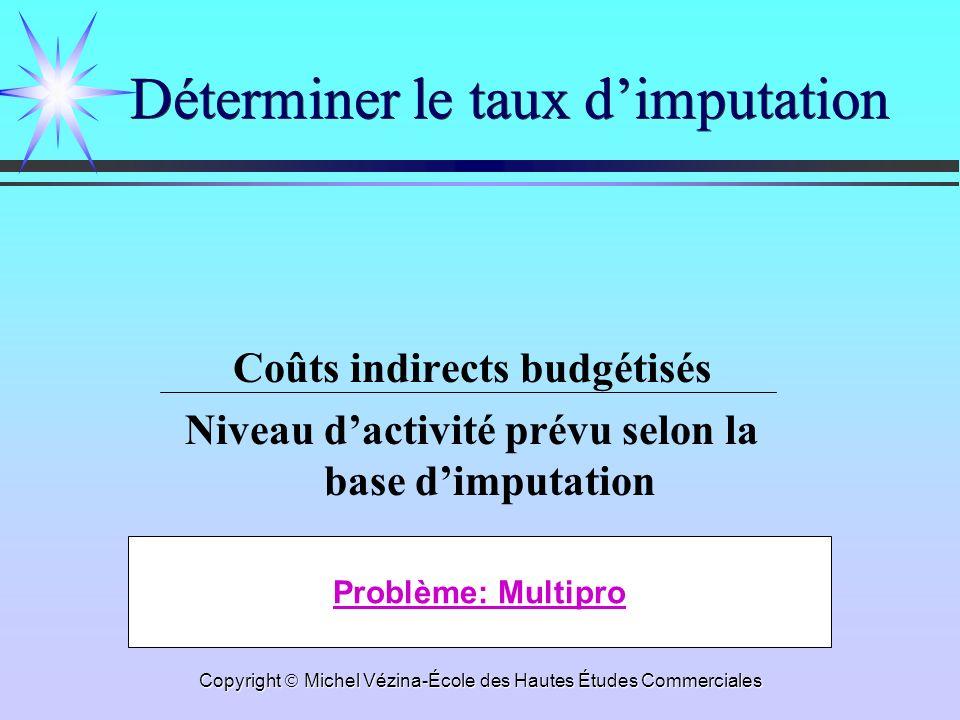 Copyright Michel Vézina-École des Hautes Études Commerciales Déterminer le taux dimputation Coûts indirects budgétisés Niveau dactivité prévu selon la base dimputation Problème: Multipro